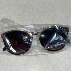 Loft  metal gold trim and black sunglasses